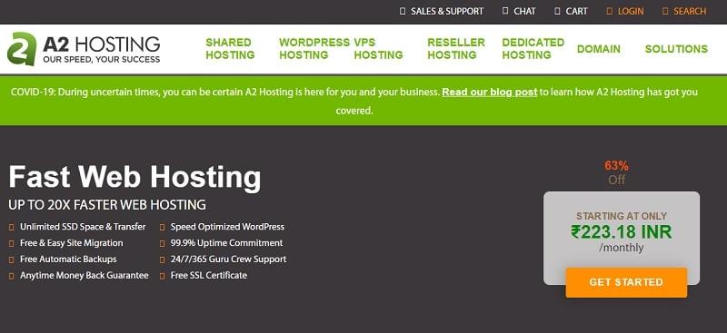 a2hosting for wordpress