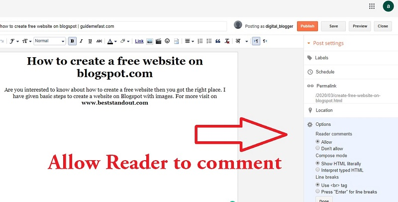 allow people to comment in blogspot