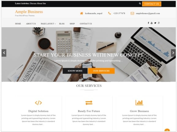 ample theme for wordpress blog