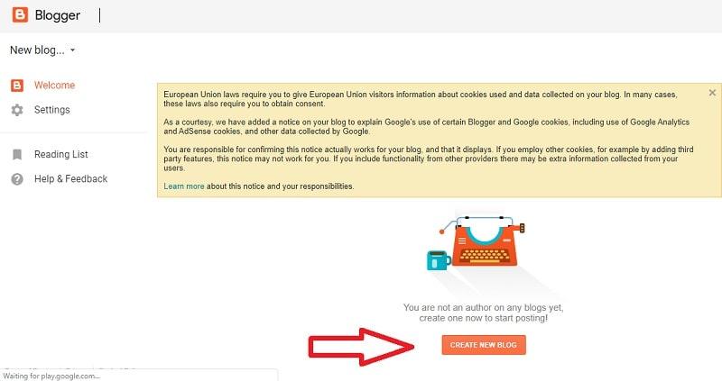create a new blog on blogspot