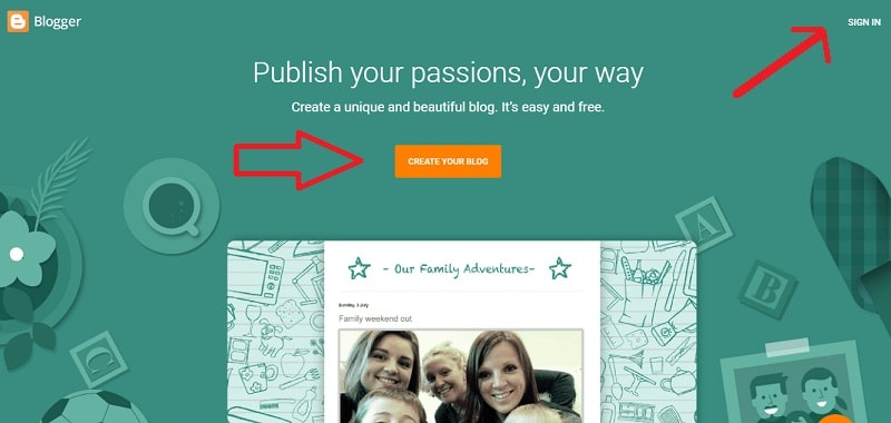 how to create a free website on blogspot