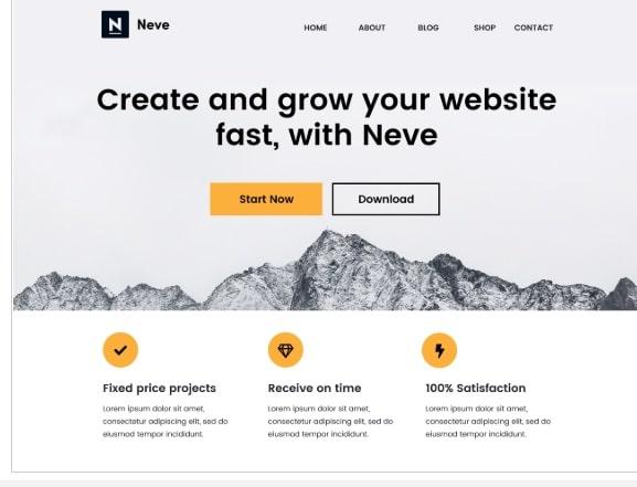 neve impressive theme for blog