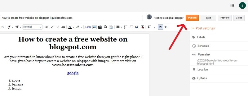publishing post in blogspot-blogger
