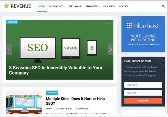 revenue SEO optimized theme
