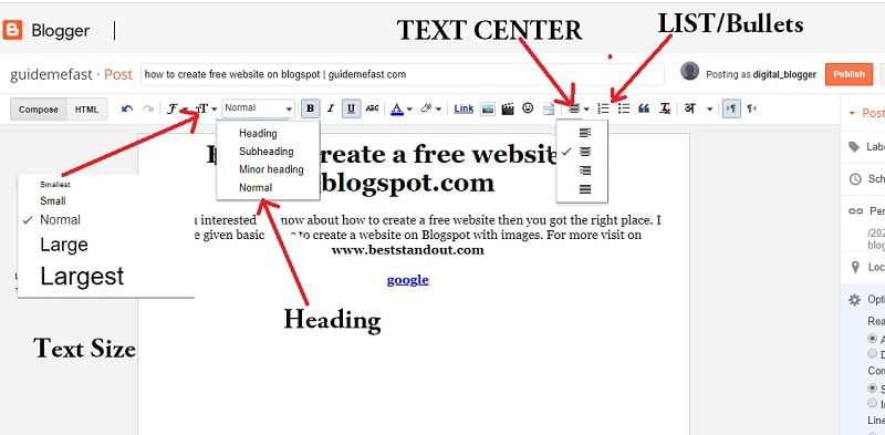 textformating in the Post