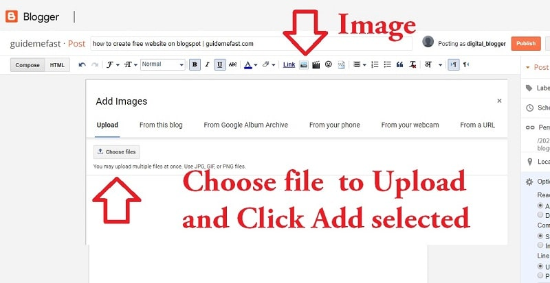 Include image in blogger POST