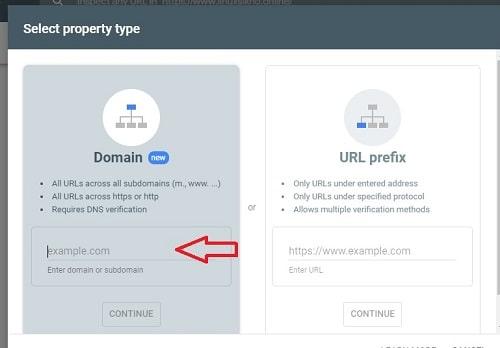 adding website url to verify site ownership