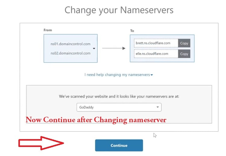 continue after changing nameserver