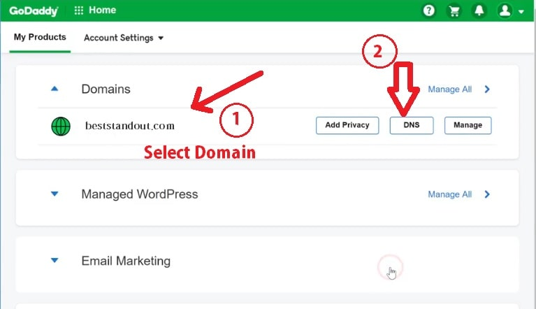 changing domain name in godaddy