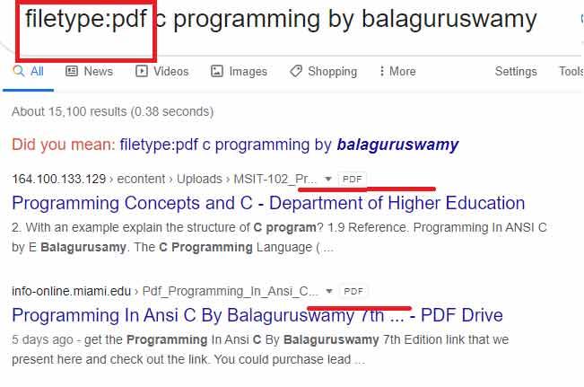 filetype searching on google