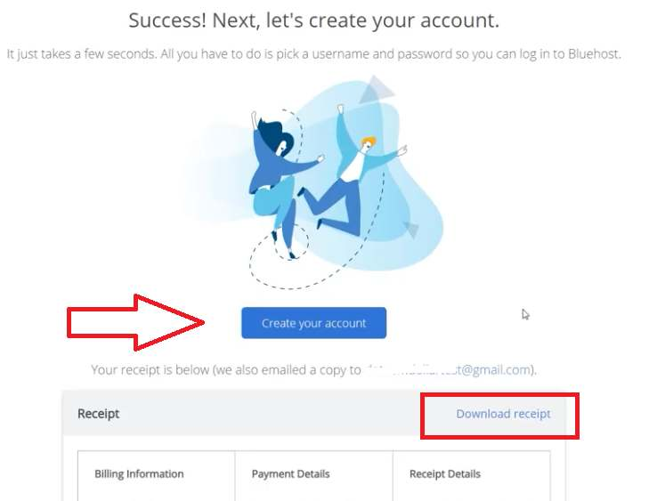 create account with bluehost