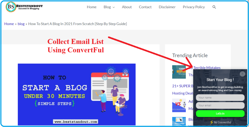 build email list using convertful