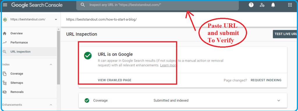 verifying URL on google